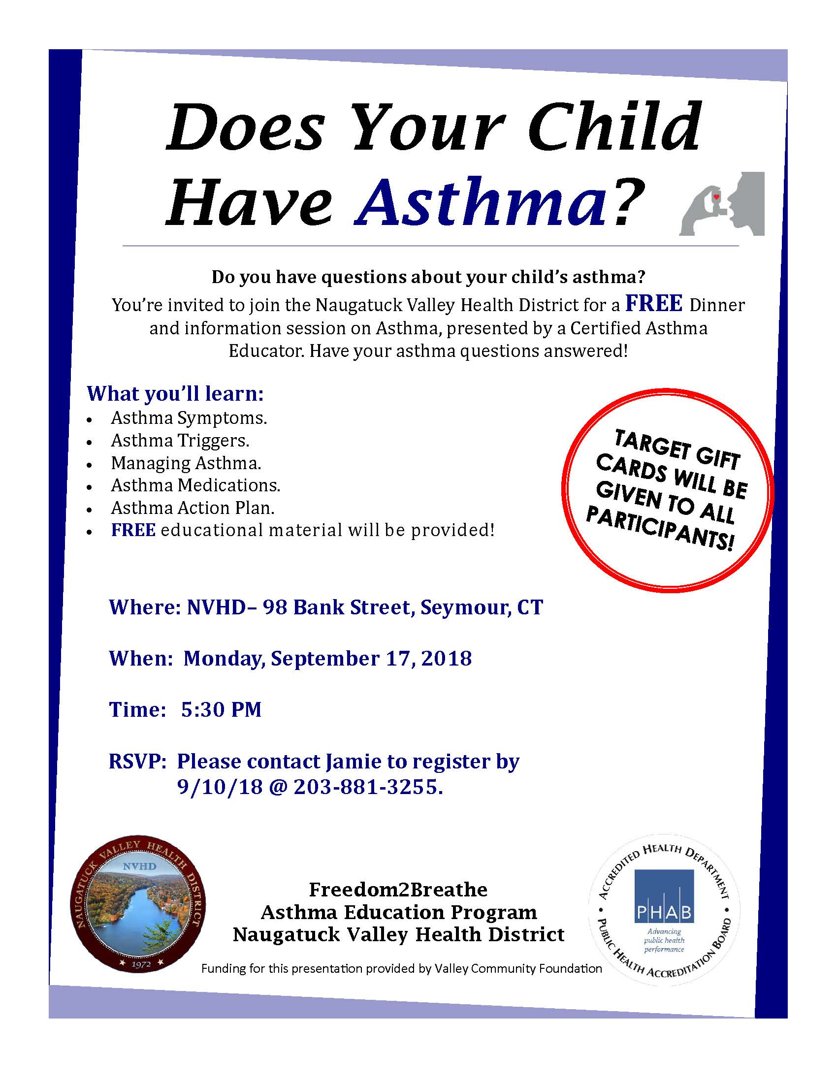 Asthma Education Event 9 17 Naugatuck Valley Health District